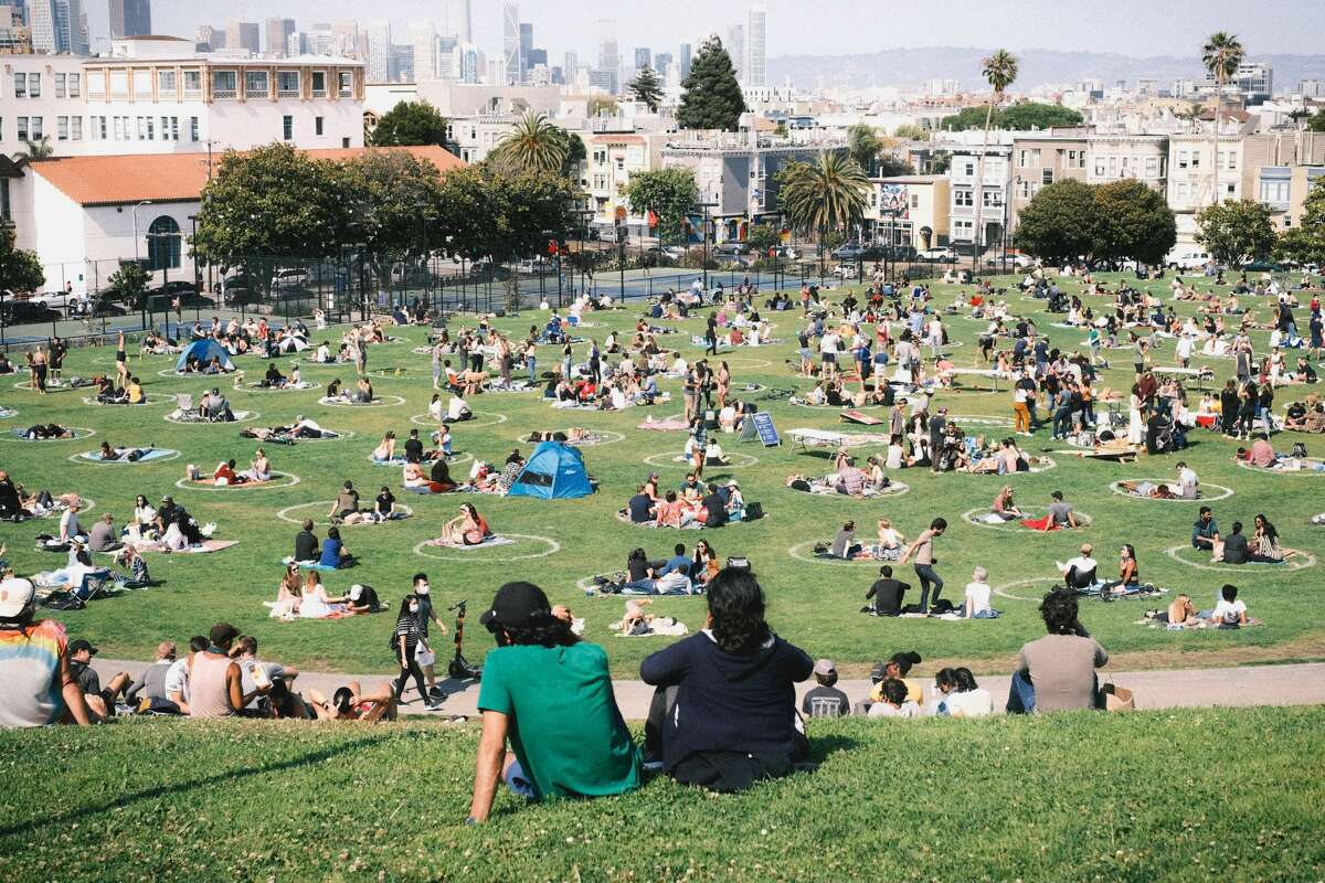Crowds at Dolores Park in San Francisco, Cali. on Saturday, Aug 1, 2020.