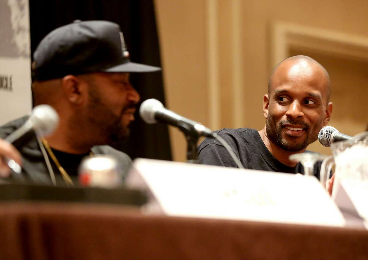Longtime ESPN commentator Bomani Jones (right) grew up in the Houston area and graduated from Waller High School.