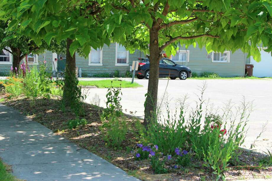 A flower bed near the Benzonia Post Office was renovated by a group of local gardeners. (Photo/Colin Merry)