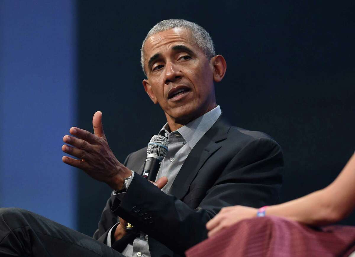 (FILES) In this file photo taken on September 29, 2019, former US President Barack Obama speaks during the