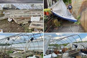 A tornado damaged the greenhouses Sunday at Paley's Farm Market in Sharon. A crew of friends and neighbors showed up Monday morning and cleaned up the debris.