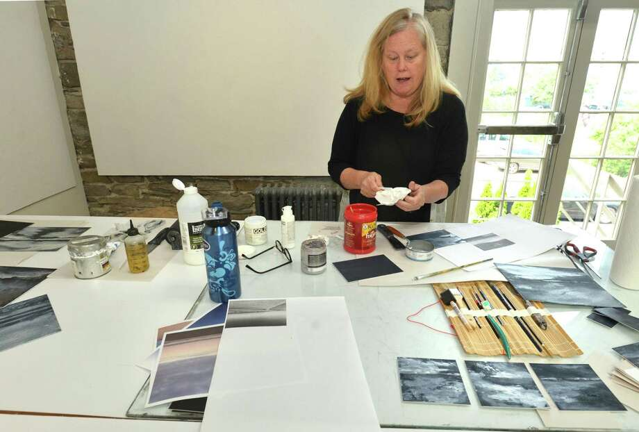 Member Jane Cooper works on a series of silk aqua tint with carborundum landscapes during a session in the studio at The Center for Contemporary Printmaking in Mathews Park on Tuesday August 7, 2018 in Norwalk Conn. The center was one of nine in the state to receive a $50,000 federal grant recently to help them stay afloat during the coronavirus pandemic. Photo: Alex Von Kleydorff / Hearst Connecticut Media / Norwalk Hour