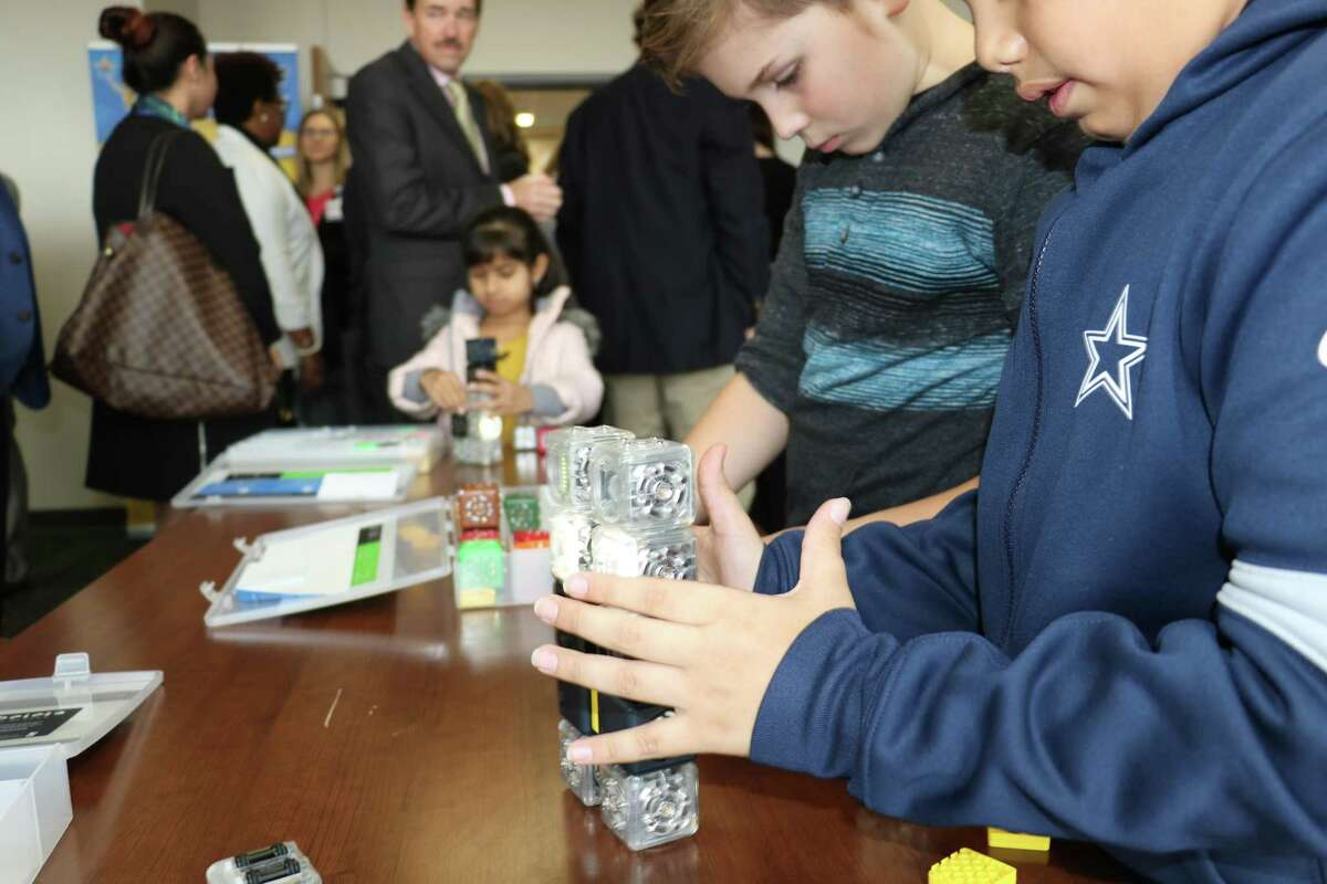 Students display projects at the Community Partner Luncheon in January to kick off 2020 fundraising for the Clear Creek Education Foundation. Since then, the foundation has had to adjust its campaign to challenges presented by the coronavirus pandemic.