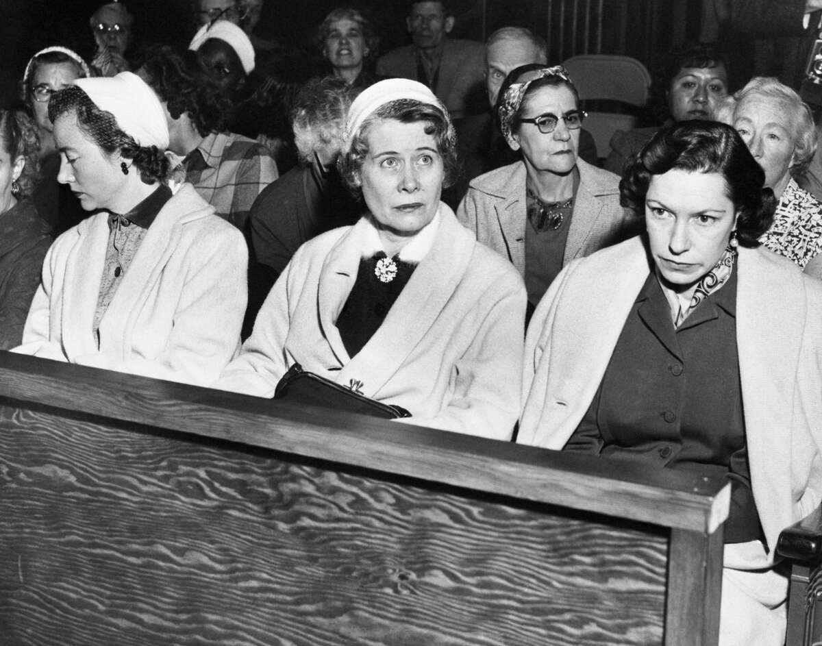 Burton Abbott's family watches the court proceedings in the closing days of the Stephanie Bryan trial. Left to right are: Mrs. Mary Haight, wife of Abbott's cousin; Abbott's mother, Mrs. Elsie Abbott, and his wife, Georgia.