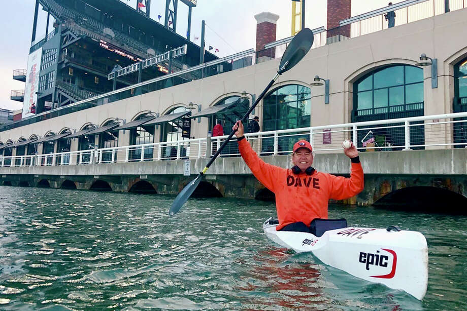 Dave Edlund is known better as McCovey Cove Dave, one of the regular kayakers who catch home run balls that splash in McCovey Cove outside the San Francisco Giants' Oracle Park. Photo: Courtesy Of Dave Edlund