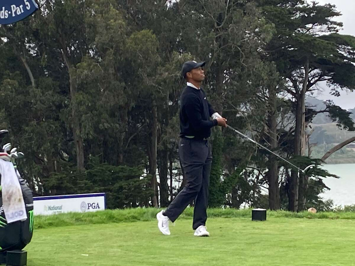 Tiger Woods, here on the No. 4 tee Monday, won at Harding Park in 2005 and went 5-0 in leading the U.S. to victory in the '09 Presidents Cup.