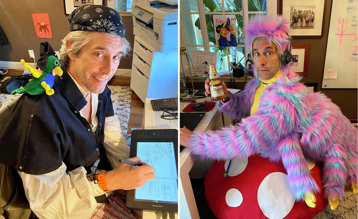 Renovo founder and CTO Jason Stinson dresses in a new costume for company Zoom meetings nearly every day.