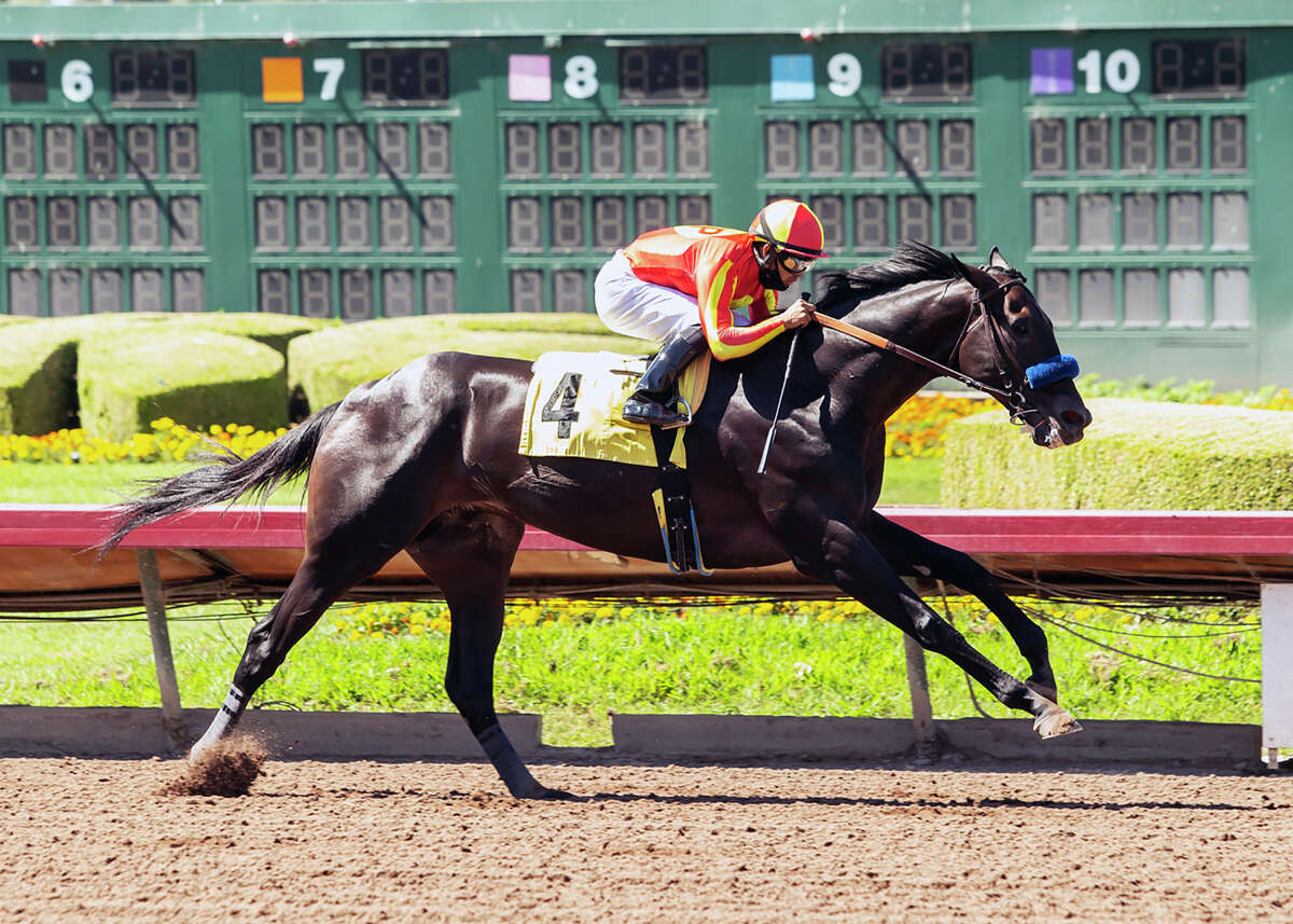 CORRECTS TO LOS ALAMITOS NOT SANTA ANITA - In this image provided by Benoit Photo, Uncle Chuck, with Luis Saez aboard, wins the Grade III, $150,000 Los Alamitos Derby horse race Saturday, July 4, 2020, at Los Alamitos Race Course in Cypress, Calif.
