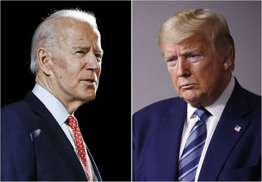 FILE - In this combination of file photos, former Vice President Joe Biden speaks in Wilmington, Del., on March 12, 2020, left, and President Donald Trump speaks at the White House in Washington on April 5, 2020. The University of Notre Dame has become the second university to withdraw as the host of one of this fall's three scheduled presidential debates amid the coronavirus pandemic. (AP Photo, File) Photo: Associated Press