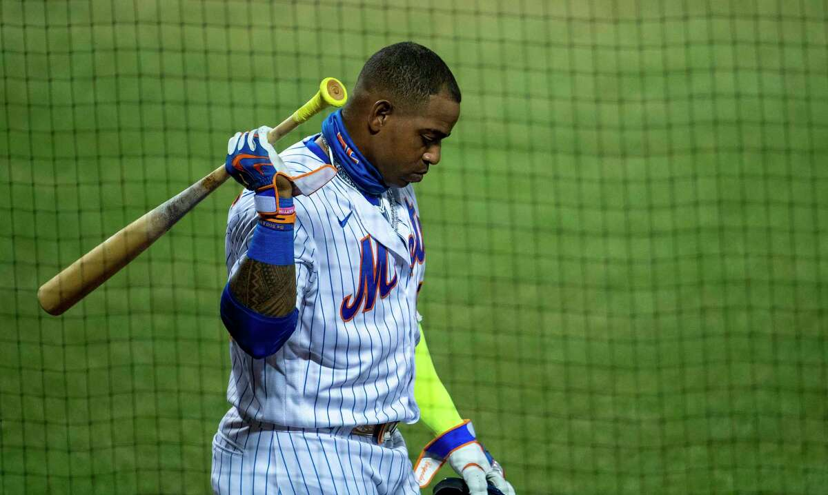 New York Mets outfielder Yoenis Cespedes during a game against the Boston Red Sox at Citi Field in New York, July 29, 2020. Brodie Van Wagenen, the Metsa€™ general manager, announced on Sunday, Aug. 2, that Cespedes had failed to show up to the ballpark in Atlanta where the team was playing the Braves, its division rival. (Ben Solomon/The New York Times)