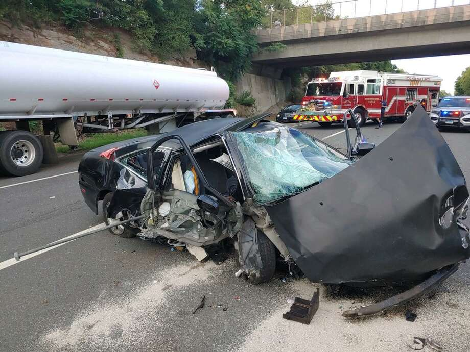 One person was injured in a multi-vehicle accident Monday, Aug. 3, on Route 8 southbound between exits 12 and 13. Photo: Shelton Fire Department / Contributed Photo / Connecticut Post