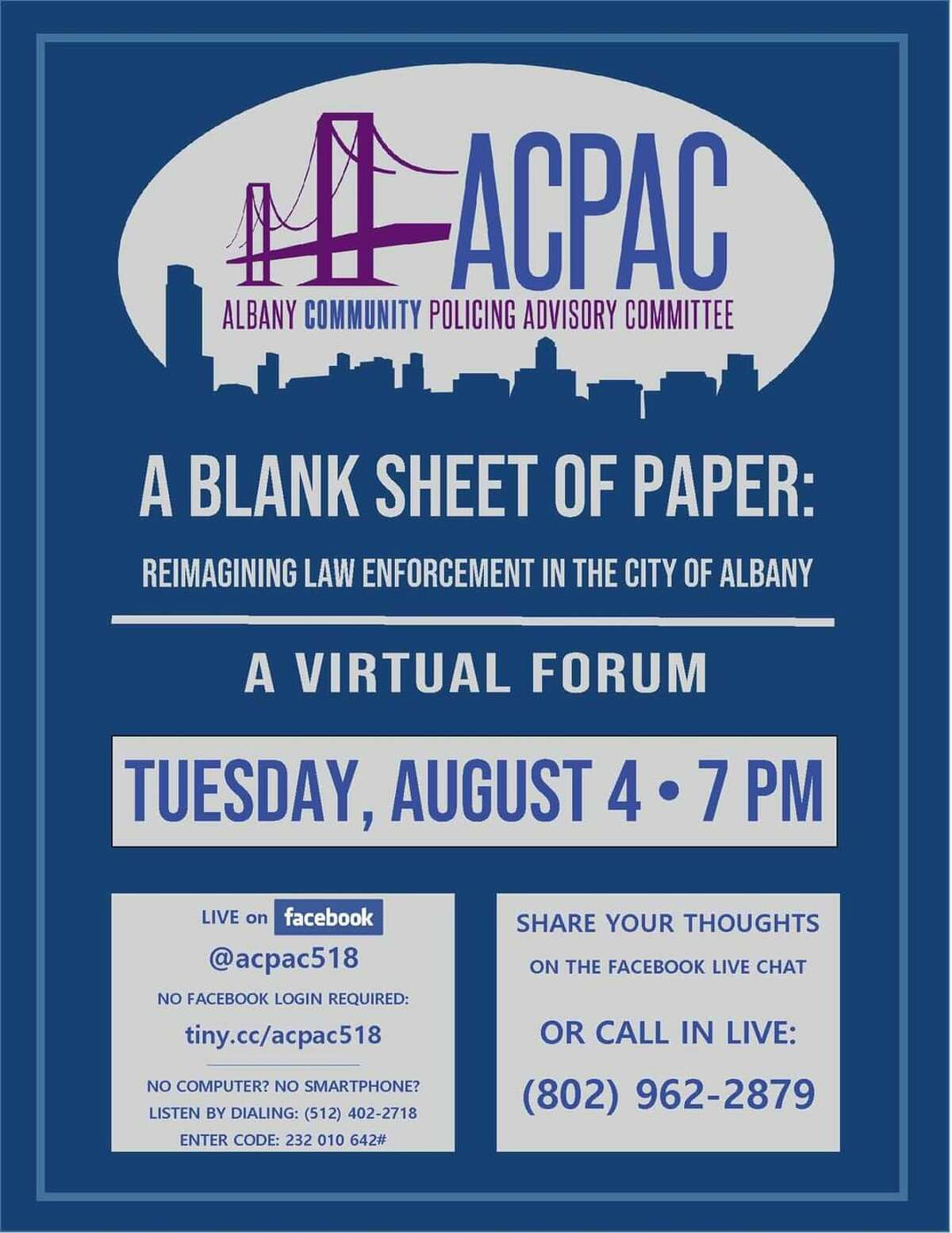 The committee will hold a virtual forum at 7 p.m. on Tuesday.