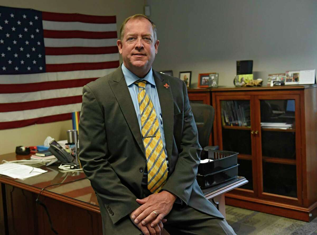 Superintendent Shannon Shine is seen in his office at the Mohonasen Central School Administration Office on August, July 3, 2020 in Rotterdam, N.Y. (Lori Van Buren/Times Union)