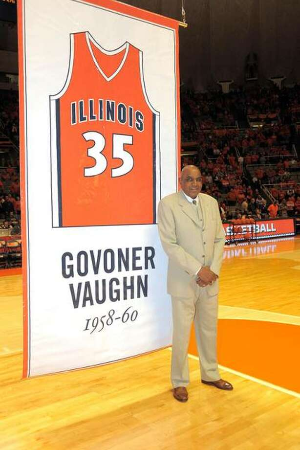Nearly half a century after he made his mark in basketball at Illinois, former Edwardsville High School star Govoner Vaughn returned to Champaign-Urbana in 2008 to see a banner with his name and number raised to the rafters at the State Farm Center. Photo: Illini Athletics