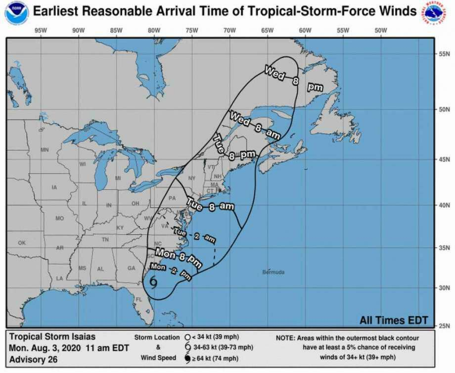 Storm Isaias is making its way to Connecticut bringing heavy rain and winds. Photo: Nhc.noaa.gov