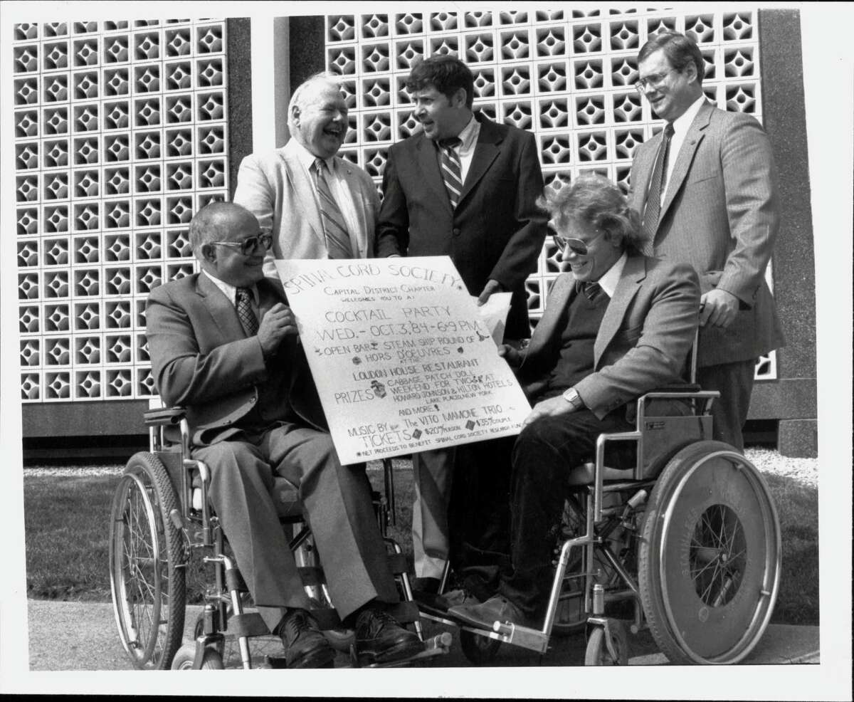 Spinal Cord Injury Society - Sebastiano Torre, Barney McGuire, Paul Richter, Garry Wood and John Canfield promoted fundraiser for Society. September 25, 1984 (Roberta Smith/Times Union Archive)