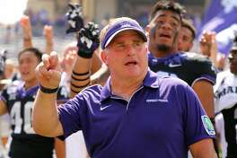 FORT WORTH, TEXAS - SEPTEMBER 28: Head coach Gary Patterson of the TCU Horned Frogs after the win against the Kansas Jayhawks at Amon G. Carter Stadium on September 28, 2019 in Fort Worth, Texas. (Photo by Richard Rodriguez/Getty Images)