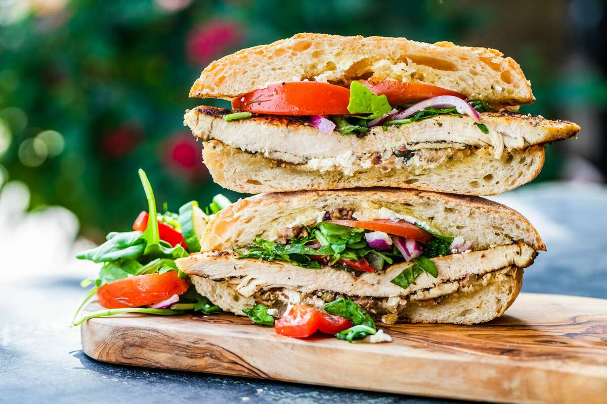 The sandwich, available through the end of the month, comes with marinated grilled chicken breast, arugula, tomatoes, cucumbers, red onions, kalamata olive tapenade and soft goat cheese, all served on ciabatta bread.