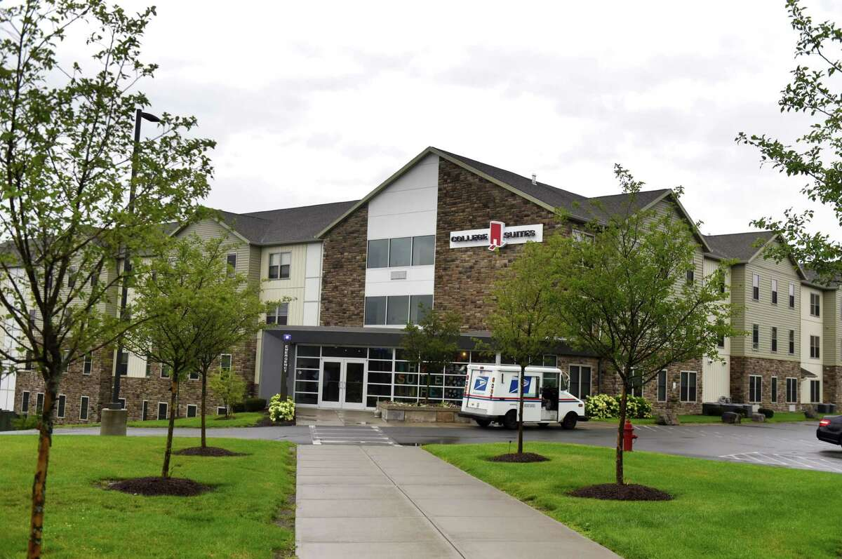 Exterior fo the College Suites at Hudson Valley Community College on Tuesday, Aug. 4, 2020, in Troy, N.Y. Residents of the HVCC dorm were evicted last week to make room for students from Rensselaer Polytechnic Institute. (Will Waldron/Times Union)