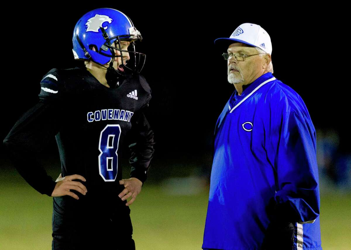 Kade Houston, left, returns as as key junior on the Covenant Christian offense and defense for head coach Wayne Allen, right.