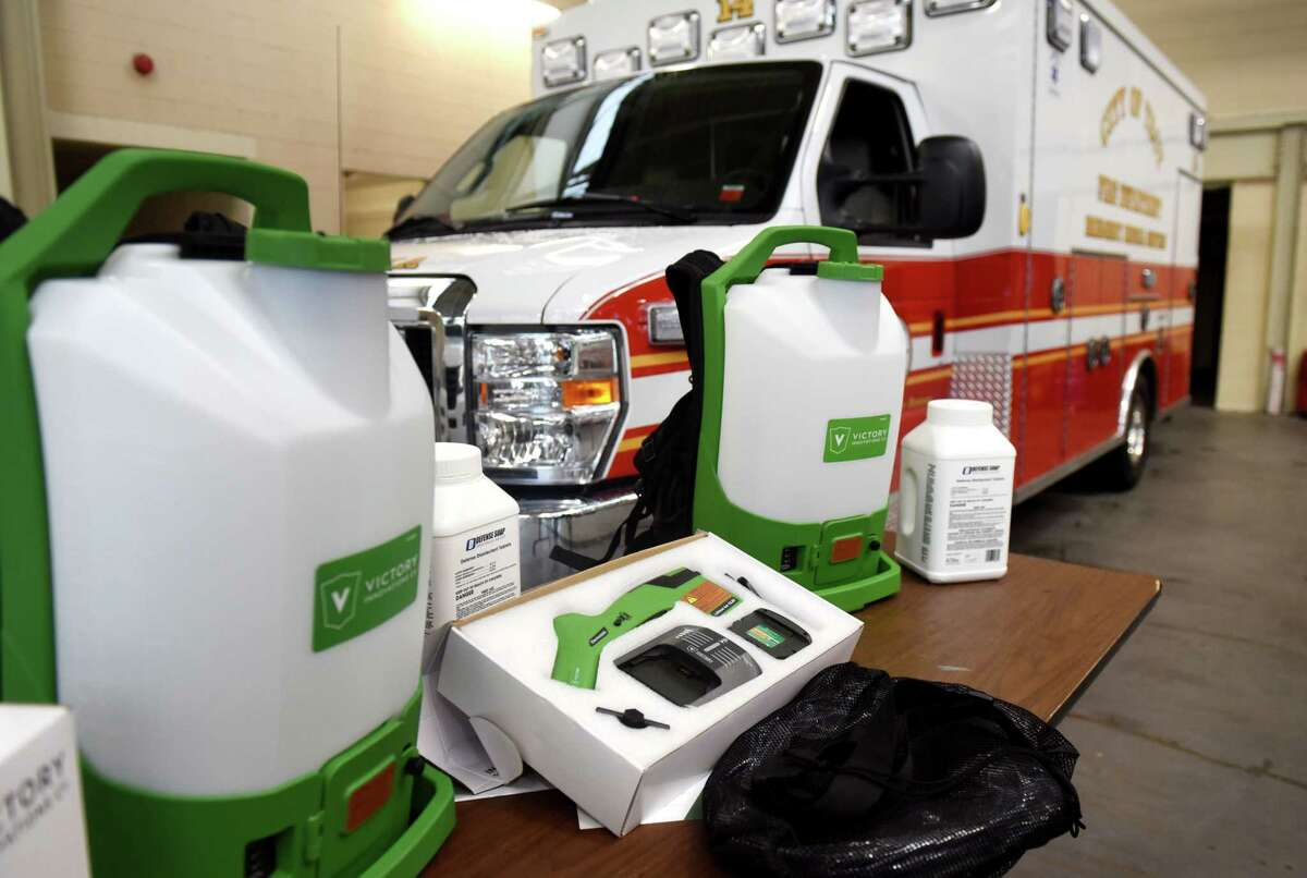 MVP Health Care, CDPHP and Quick Response donated two sanitizing sprayers to the Troy police and fire departments to aide in the fight against COVID-19 on Tuesday, Aug. 4, 2020, during a presentation at Troy Central Fire House in Troy, N.Y. (Will Waldron/Times Union)