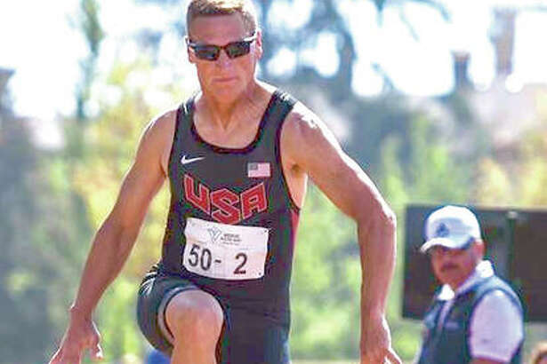 Mike Young, of Wood River, competing in a long jump during the U.S. Senior Games in Birmingham, Alabama. He is a Senior Olympian and state record holder.