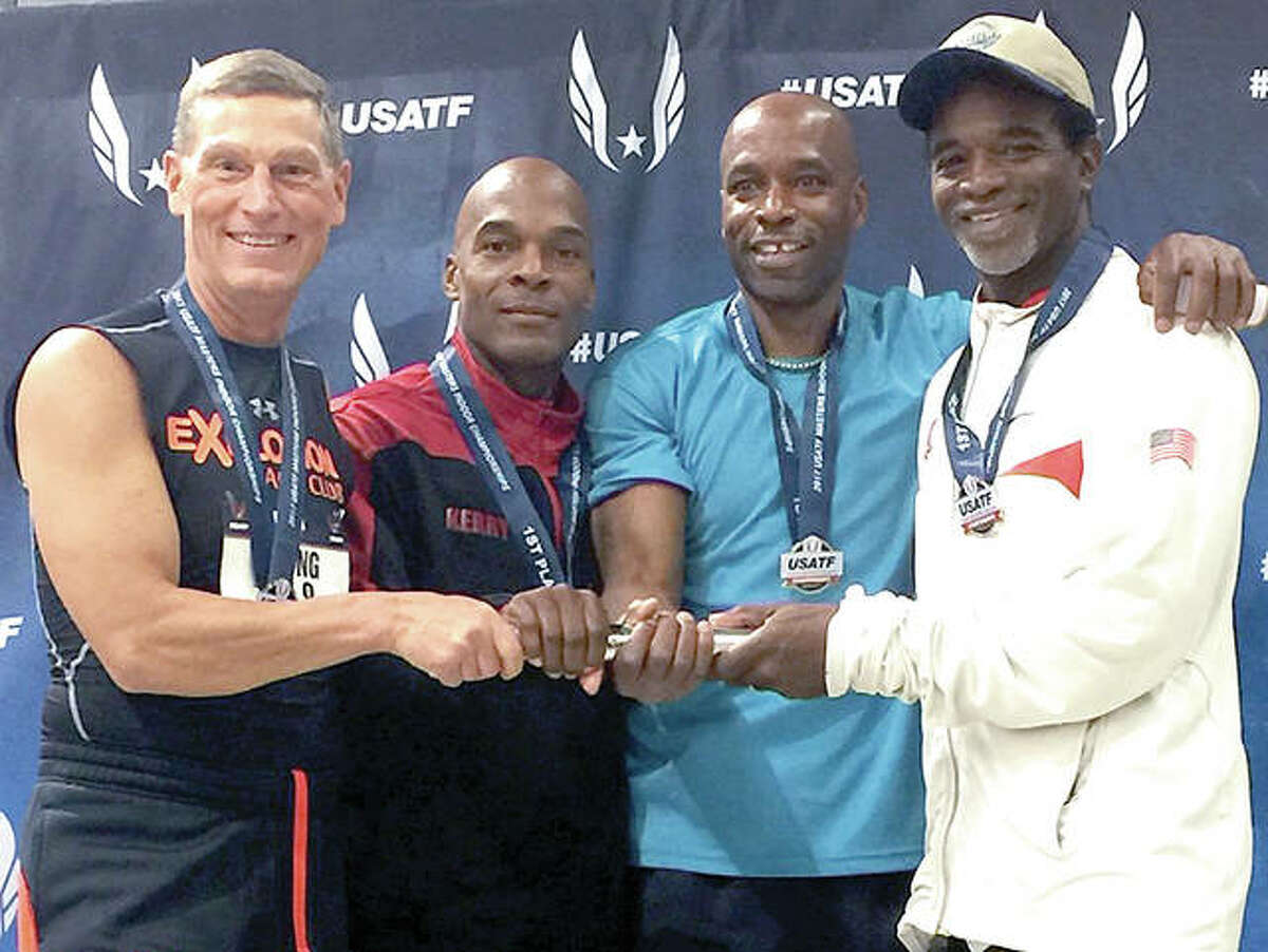 Mike Young, left, of Wood River, poses with other members of the eXplosion relay team that captured the national championship in the 4-x-200 relay at the USA Track and Field Masters Indoor National Championships at the Albuquerque Convention Center in Albuquerque, New Mexico.