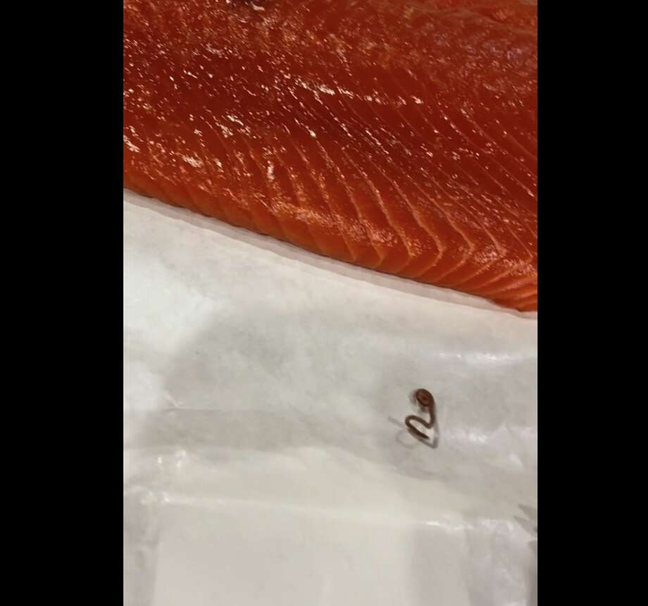 "Max SalmeronWhen Max Salmeron bought the H-E-B's Alaska Wild Caught Sockeye Salmon fillet last Wednesday, he didn't expect to find a live ""wiggling"" worm in his fish. Photo: Max Salmeron"
