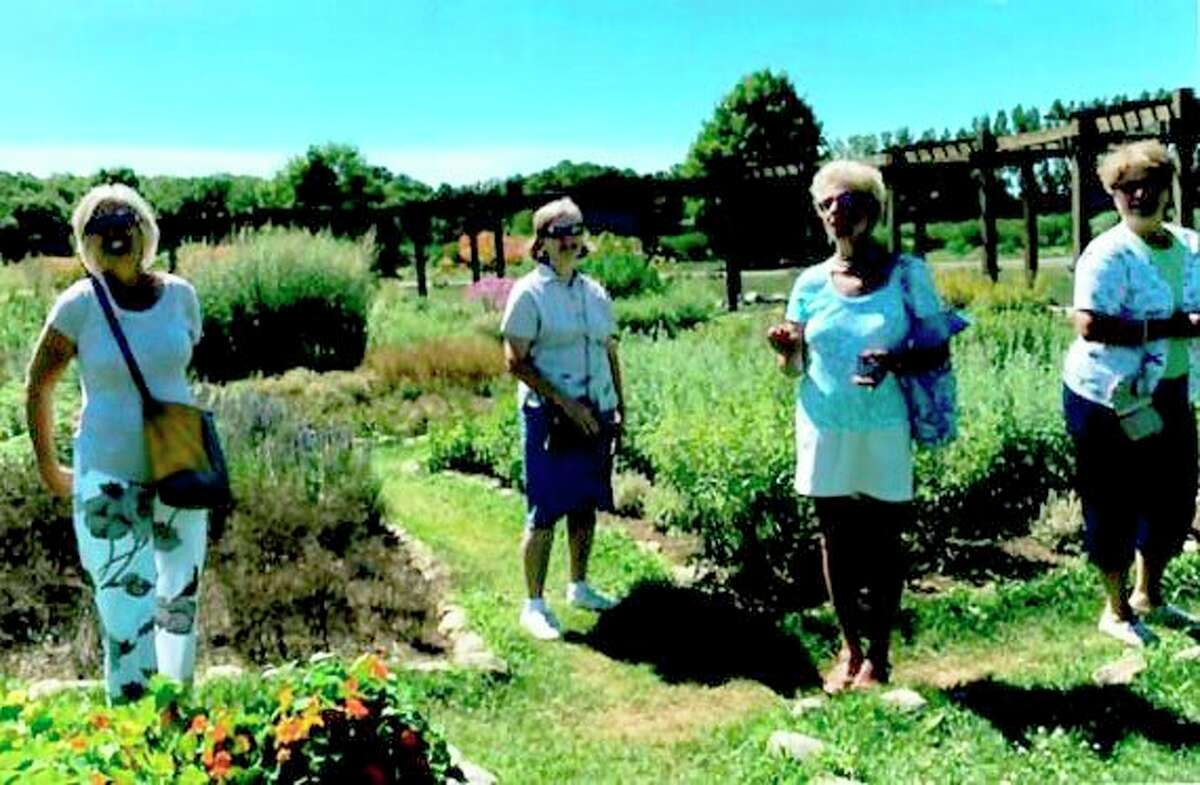 Spirit of the Woods Garden Club, Inc. members(from left) Vickie Johnson, Susanna Drake, Kathy Stefanski and Beth Markowski were part of a group that recently visited the Lavender Labyrinth in Shelby. (Courtesy photo)