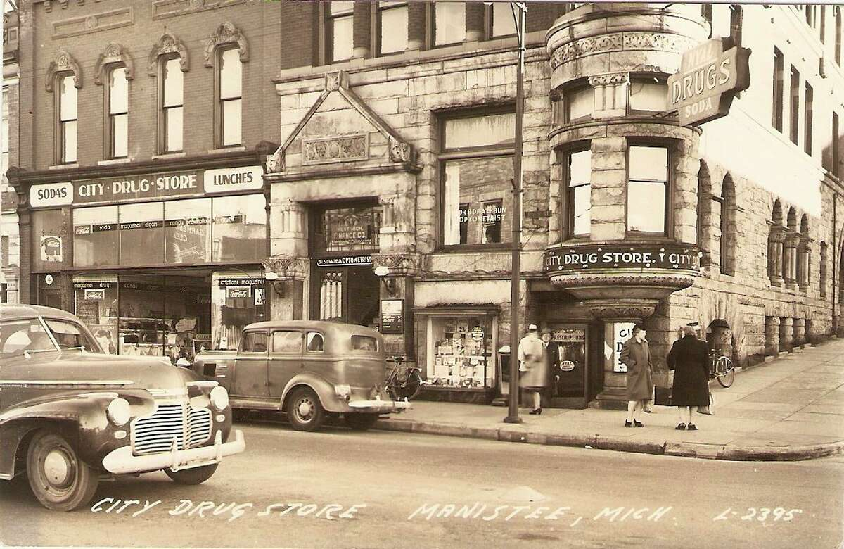 A view of the corner of Maple and River street circa 1940s. (Manistee County Historical Museum photo)