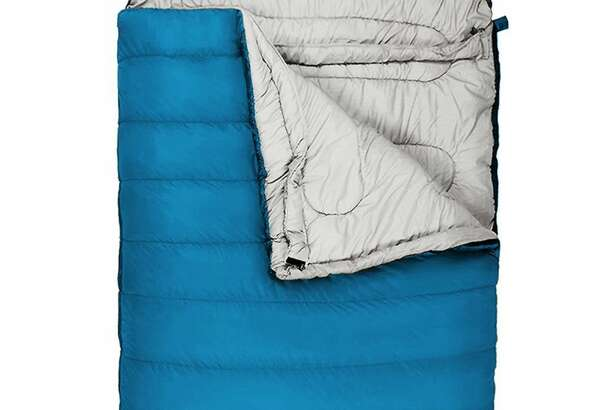 Winner Outfitters Double Sleeping Bag: Shop Now If you're new to camping, but not sure how often you'll get out, this affordable double sleeping bag is the solution. It has a water-resistant polyester shell to minimize trouble if the inside of your tent gets wet, and a polyester lining that's cotton-filled for extra comfort. This Winner will keep you plenty warm in temperatures between 30 and 35 degrees, and it packs down into the included stuff sack with compression sacks to save space.