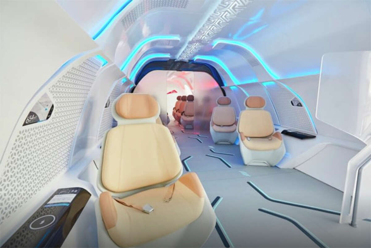 Rendering of the interior of a passenger pod from Virgin Hyperloop.
