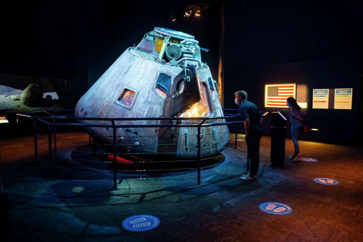 The Apollo 17 spacecraft that allowed astronauts Eugene Cernan and Harrison Schmitt to be the last two people to step on the Moon, is on display in the Starship Gallery, Sunday, July 19, 2020, at Space Center Houston. The popular attraction next to NASA's Johnson Space Center re-opened to the general public on Sunday for the first time since closing its doors amidst the COVID-19 pandemic. Numerous new procedures have been put into place to keep guests and staff safe.