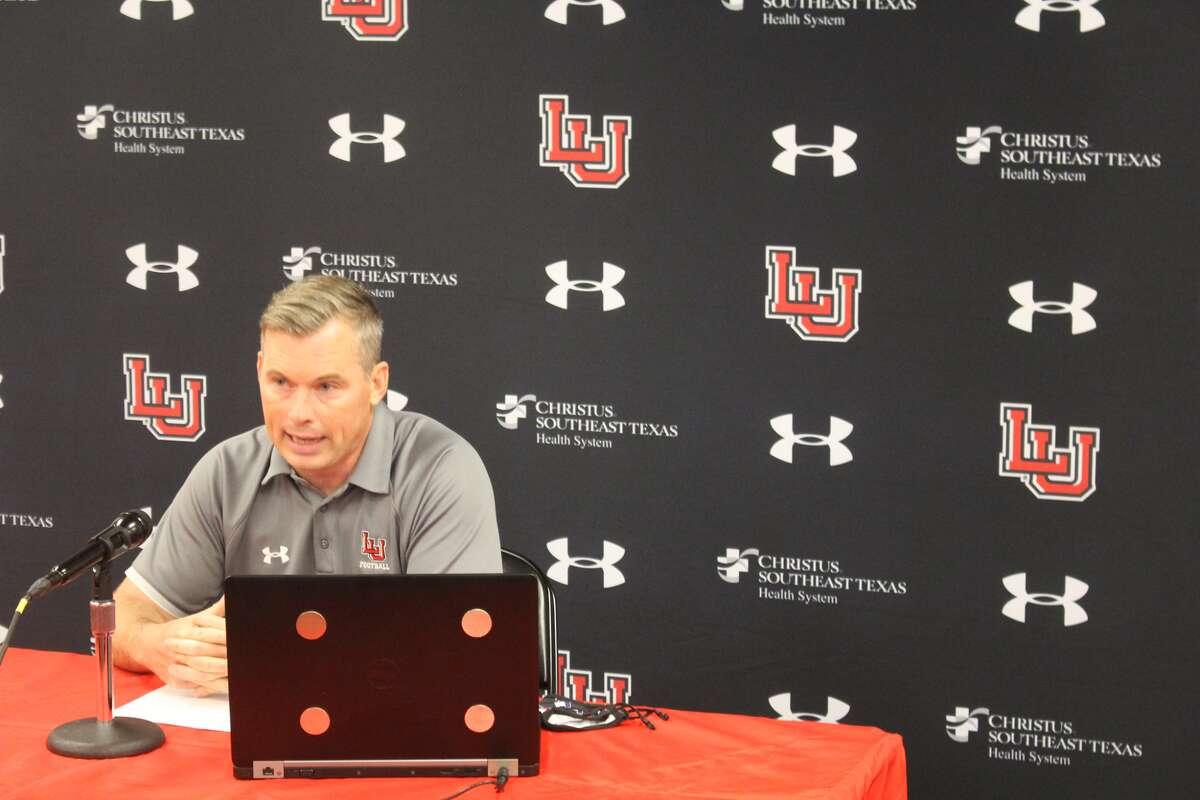Lamar University head football coach addresses the media during Tuesday's virtual media day.