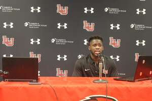 Lamar University wide receiver Kirkland Banks takes questions from the media during Tuesday's virtual media day.