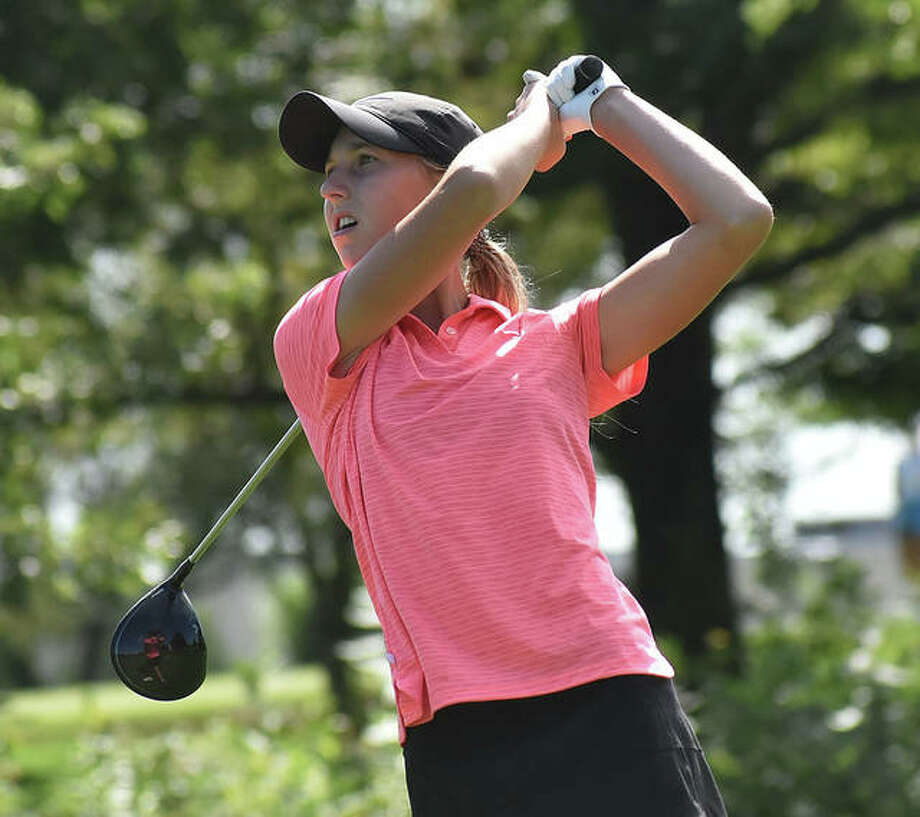 Edwardsville's Grace Daech watches her tee shot on No. 9 at Hickory Point Golf Course in Forsyth on Tuesday in the first round of the 41st Illinois State Junior Girls Championship.