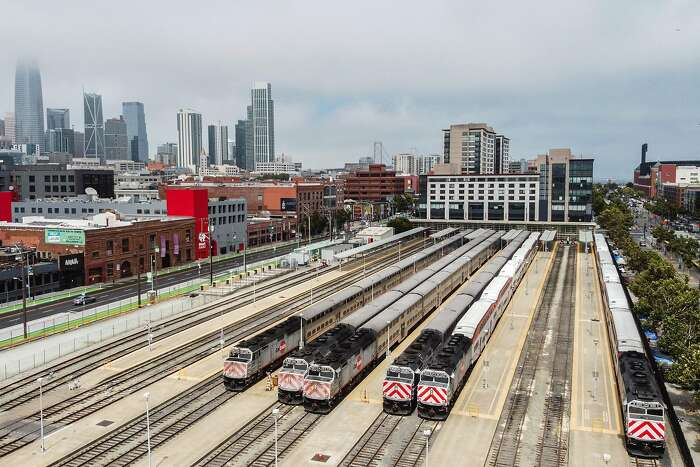 The Caltrain station at 4th and King streets on Tuesday, Aug. 4, 2020, in San Francisco, Calif. A tentative deal in the do-or-die dispute over a three-county sales tax measure to keep Caltrain running appears to be on track in time to make the November ballot after weeks of political stops and starts. The deal would allow a ballot measure on a 1/8-cent sales tax increase to help fund Caltrain to be placed before voters in San Mateo, San Francisco and Santa Clara counties in November. The measure needs the consent of each of the counties and its transportation agencies by Friday to make the fall ballot.