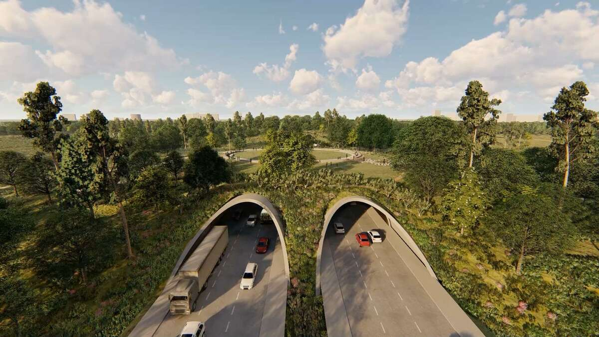 A rendering of the land bridge that will be built across Memorial Drive near the western edge of Memorial Park, reconnecting the park's long-severed north and south sides with 70 acres of sustainable, native prairie habitat.