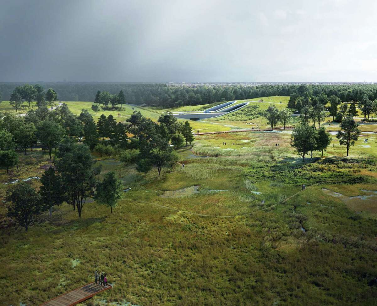 A portion of the land bridge project will create native coastal prairie habitat at what had been ball fields and parking lots on Memorial Park's south side.