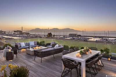 """""""The breathtaking roof deck offers you a front row seat to San Francisco's most iconic skyline including 360-degree views of the Bay, Golden Gate Bridge, Alcatraz, Marin, East Bay and the City skyline,"""" saidCamilla Moshayedi."""