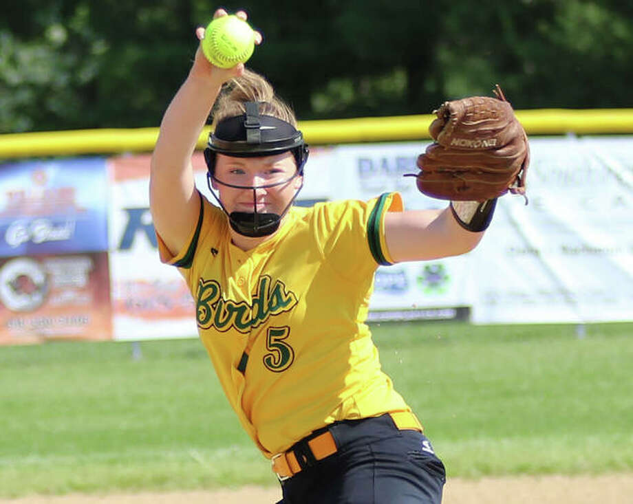 What promised to be a big softball season for Southwestern senior pitcher Bailee Nixon and her Piasa Birds teammates in 2020 was first delayed and then cancelled by concerns over COVID-19 last spring. Those same concerns three months later put prep athletes through the same anxiety while waiting on the IHSA's decision on sports for the 2020-21 school year. Photo: Greg Shashack / The Telegraph