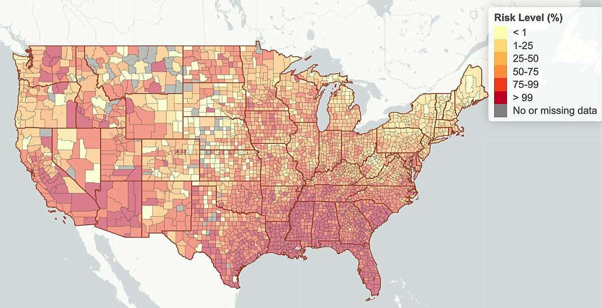 An interactive map developed by Georgia Tech professors shows the county-by-county risk in the U.S. that at least one person in a gathering of 100 is coronavirus-positive.