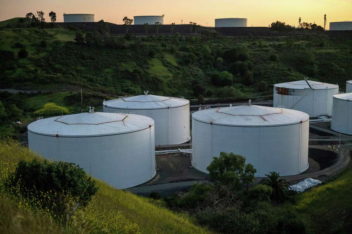 Fuel storage tanks containers stand at the NuStar Energy LP Selby Terminal in Crockett, California, U.S., on Thursday, April 23, 2020.