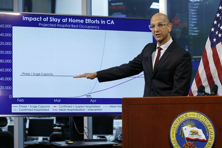 FILE - In this April 1, 2020, file photo Dr. Mark Ghaly, secretary of the California Health and Human Services, gestures to a chart showing the impact of the mandatory stay-at-home orders, during a news conference in Rancho Cordova, Calif. Photo: Rich Pedroncelli / Associated Press