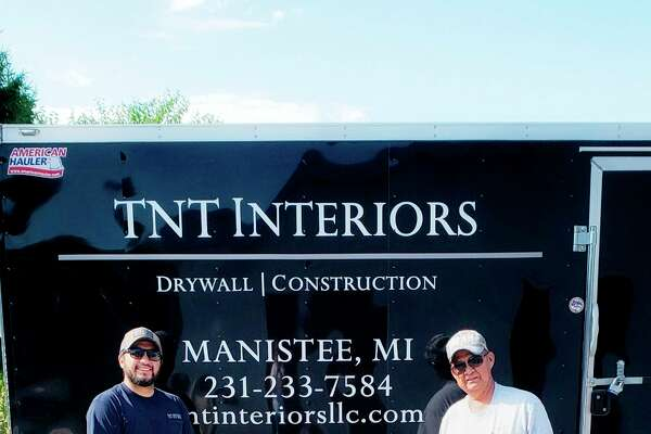 TNT Interiors has been doing drywall work in the Manistee area since 2016. From left to right are Anthony Torres Jr., owner; Dylan Cooper and Tony Torres, field manager. (Courtesy photo)