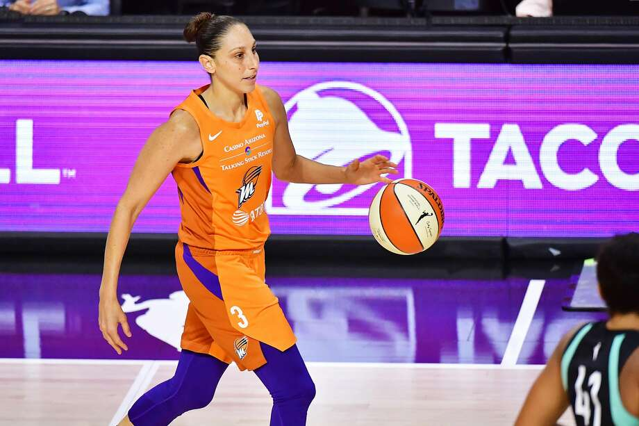PALMETTO, FLORIDA - AUGUST 02: Diana Taurasi #3 of the Phoenix Mercury dribbles up court during the first half of a game against the New York Liberty at Feld Entertainment Center on August 02, 2020 in Palmetto, Florida. NOTE TO USER: User expressly acknowledges and agrees that, by downloading and or using this photograph, User is consenting to the terms and conditions of the Getty Images License Agreement. (Photo by Julio Aguilar/Getty Images) Photo: Julio Aguilar, Getty Images