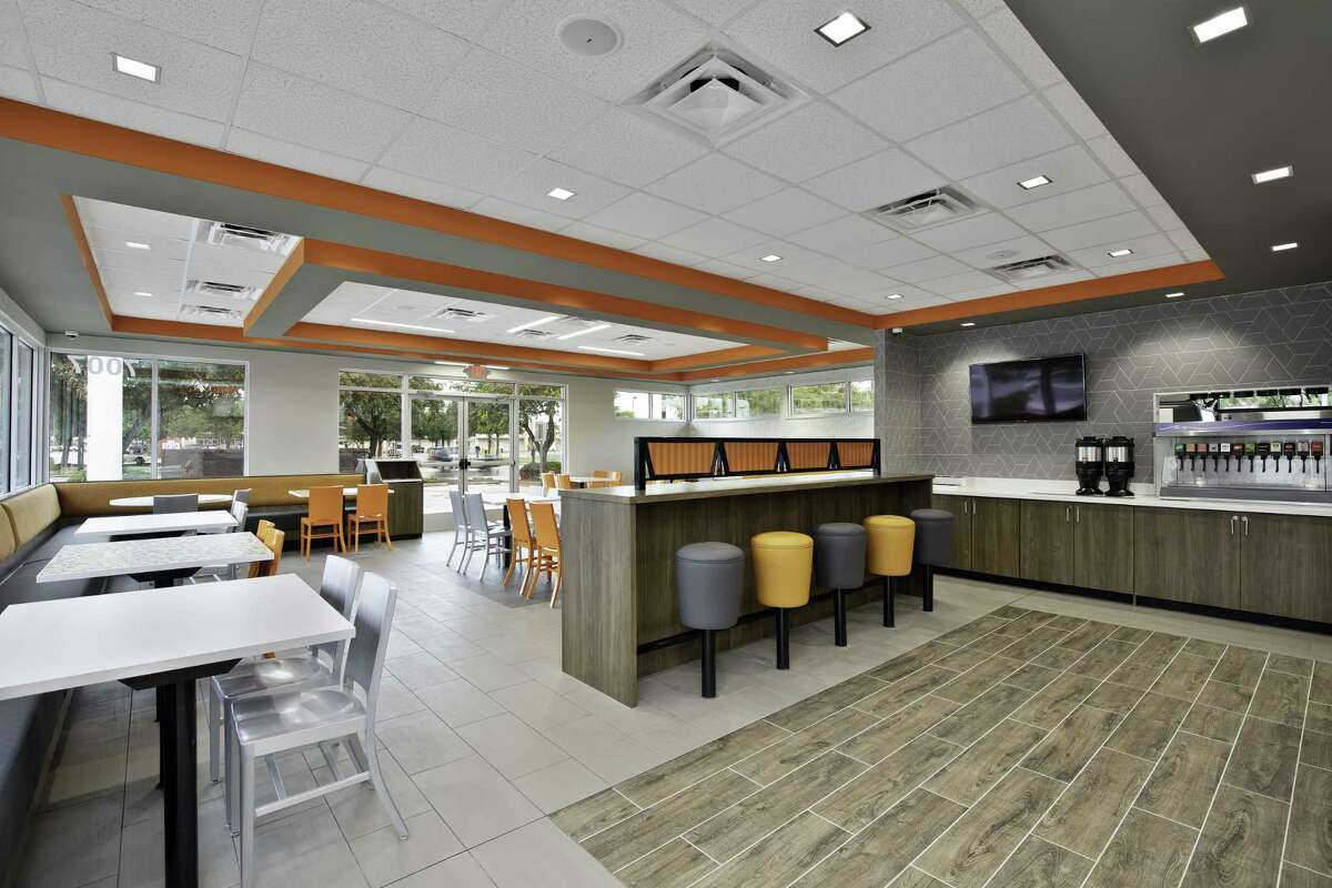 Whataburger is introducing new restaurant models and remodels with LED lighting and energy-efficient heating and cooling units. Shown is the interior of the store at 7007 S. Zarzamora St., which has been remodeled.