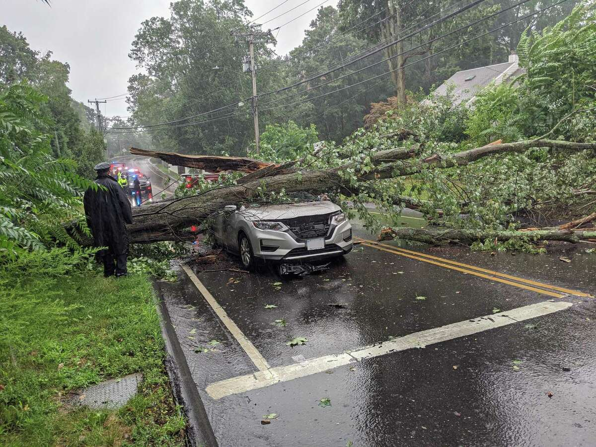 A tree that fell on a vehicle in Westport, Conn., on Tuesday, Aug. 4, 2020, as damaging winds slammed the state.
