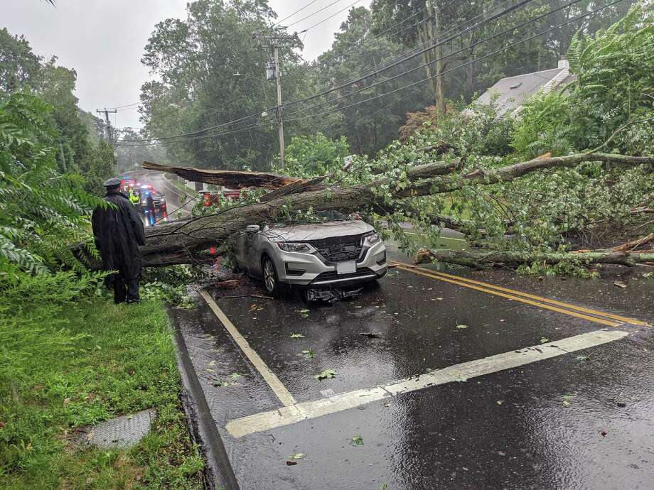 A tree that fell on a vehicle in Westport, Conn., on Tuesday, Aug. 4, 2020, as damaging winds slammed the state. Photo: Contributed Photo / Westport Fire Department
