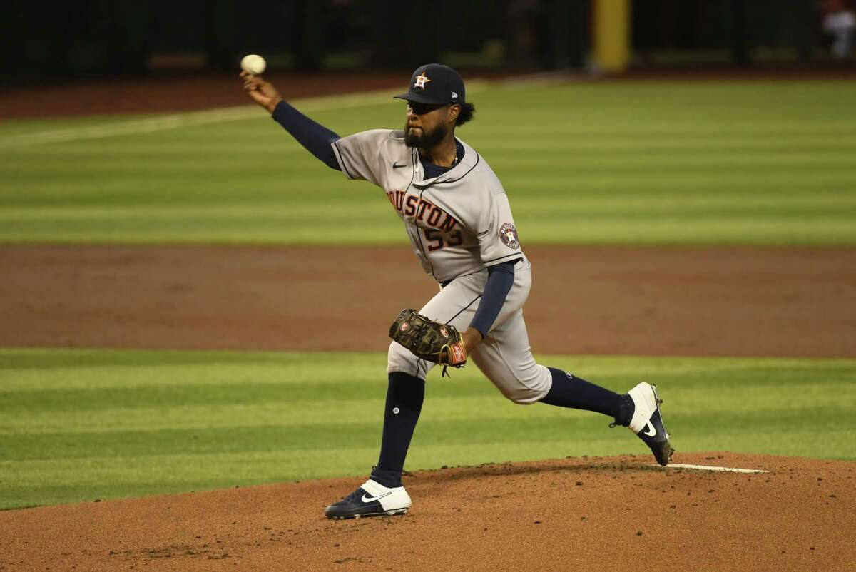 PHOENIX, ARIZONA - AUGUST 04: Cristian Javier #53 of the Houston Astros delivers a first inning pitch against the Arizona Diamondbacks at Chase Field on August 04, 2020 in Phoenix, Arizona.